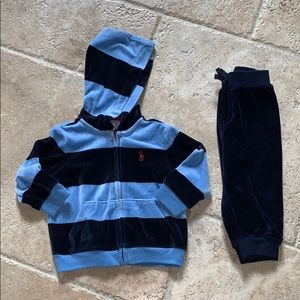 Ralph Lauren baby boy 9m dark blue velour outfit